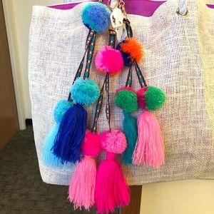 Accessories - Fuzzy Pom Pom Bag Accessory -Blues
